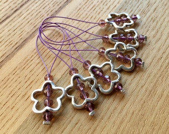 Knitting Stitch Markers, Snag Free Stitch Markers Set of 6, Purple Crystal, Flower Charm, Knitting Tools, Gift for Knitters, Yarn Lover