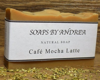 Cafe Mocha Latte Handmade Bar Soap Coconut Oil. Olive Oil. Shea Butter Cocoa Mother Gift Ideas Natural. Body Soap. Bath Soap. Gifts Under 10