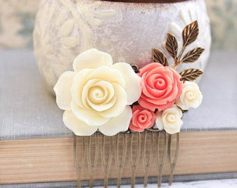 Cream Rose Comb Coral Rose Floral Comb Country Wedding Hair Comb Flower Adornment Bridesmaids Hair Accessories Hair Piece Bridal Hair Comb