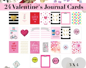 3x4 Valentines Journal Cards   Planner Printables     Inserts  Journaling Cards   Project Life   Memory Planner   Hearts   Love   Valentine