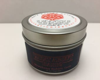 What About Barb Candle - Stranger Things Candle -  Strawberry Bubblegum Candle - 4 oz Tin Candle - Fandom Candle - Team Barb - BARB Candle
