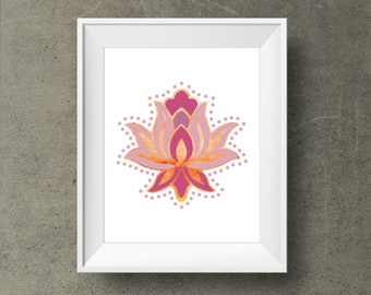 Indian pink lotus flower poster, 8x10 / 16 x 20 and A3  Wall print, Meditation Instant Download printable, Yoga Art, Floral, yoga poster