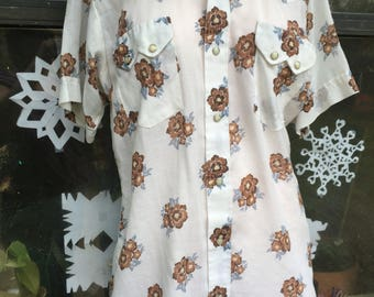 Vintage Sheer floral Men's Pearl Snap Western Shirt