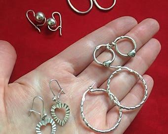 Vintage Sterling Silver Earrings Lot