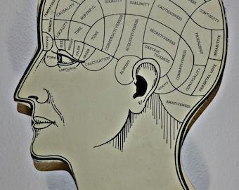 Vintage Wooden Phrenology Head Wall Display