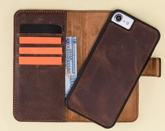 iPhone 8 Leather Case,  iPhone 7 Leather Case  Brown iPhone Wallet Case,Detachable Magnetic Case, Man or Women, Laser Engraving Avaliable