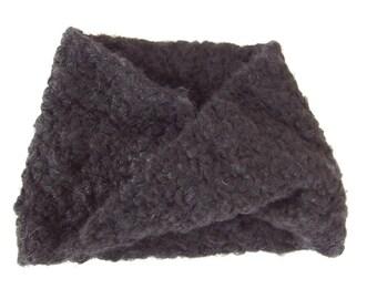 Black Infinity Scarf - Hand Crocheted Black Unisex Loop Scarf