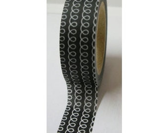 """CLEARANCE Washi Tape """"Curly"""" In Black  15mm x 10 Meters"""
