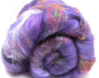 Carded Batt Parma Violets Merino Tussah Silk Sari Silk 100g 3.5oz