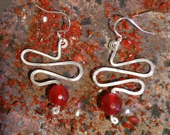 Silver Plated Red Ruby Earrings