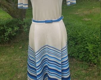 Vintage 70s Jean Allen Sailor Dress. Casual Elegance!