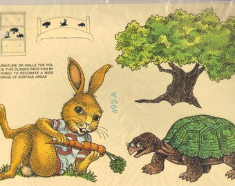 Vintage Tortoise and the Hare Race Sealed  Decal for Wall and Furniture Transfer Metercord 1980