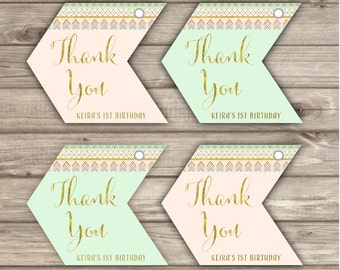 Thank You Arrow Tags Wild One Pink and Gold Mint Party girl First Birthday teal Digital Zoo Favor Tags Tribal Geometric Arrow TT2237