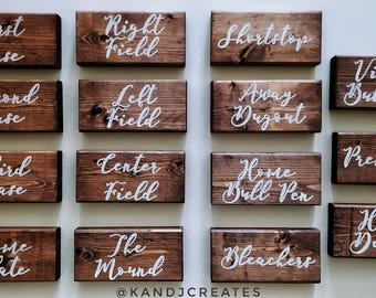 KANDJCREATES Baseball Themed Rustic Wedding Table Numbers || Party Table Numbers