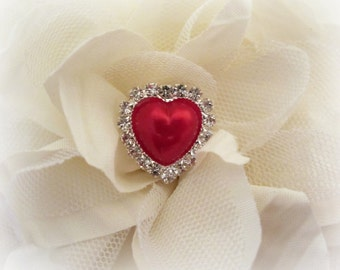 Red Pearl Heart Rhinestone Buttons, Valentine Buttons. QTY: 1 Button