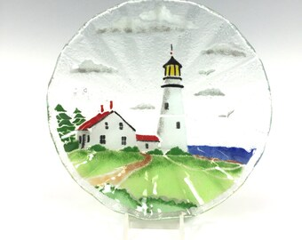 Lighthouse Bowl, Fused Glass, Glass Dish, Lighthouse Decor, Costal, Seashore