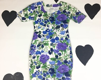 90's Express Tricot stretch cotton floral bandage dress 1990's bodycon blue purple short sleeve wiggle tight sexy short sleeve dress M L