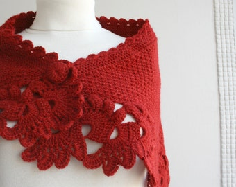 Hand Knit Dark Red  Capelet Shawl / Gift for Her / Christmas gift