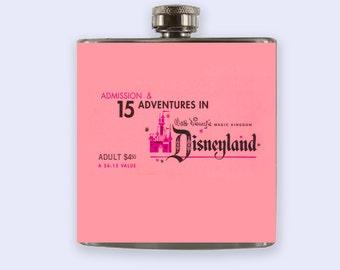 Vintage Disney Ticket Personalized Custom Flask, Pink Disney flask