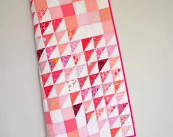 Pink Baby Quilt, Modern Baby Quilt, Geometric Baby Bedding, Triangle Quilt, Modern Crib Quilt