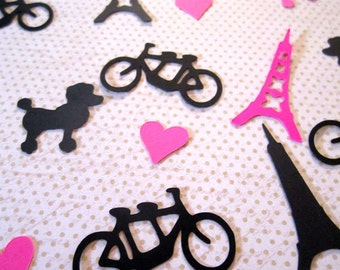 Paris Confetti, Eiffel Tower Confetti, Tandem Bike Confetti, Poodle Confetti, Heart Die Cut Confetti, Party Decor Confetti, Color Options