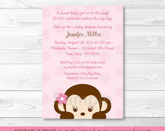 Cute Pink Monkey Baby Shower Invitation / Monkey Baby Shower Invite / Girl Monkey / Baby Girl Shower / INSTANT DOWNLOAD Editable PDF A421
