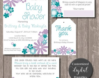 Multi Floral Invitation Package - Download