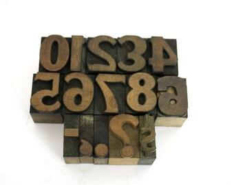 Vintage Wooden Letterpress Numbers / Printers Block 0 - 9 / Pick Your Numbers