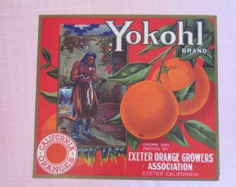 """Vintage Yokohl unused fruit crate label from Exeter, CA measures 10"""" x 11"""""""