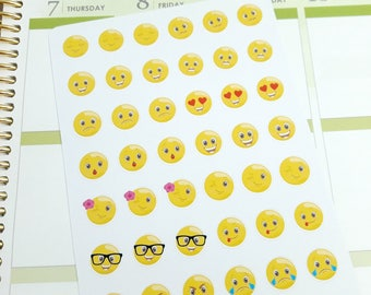 Emoji stickers, mood stickers, smiley faces stickers, planner stickers for Erin Condren, MAMBI Happy Planner, personal size Filofax, Kikki K