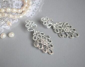 Bridal earring, Drop Dangle Earring, Wedding Earring, Vintage Long Earring, Long Bridal Earring, Chandelier Earring