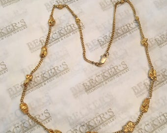 """RARE 18k & 20k yellow gold necklace with 14 Graduated Natural 20k Gold Nuggets on a 20"""" Curb Cable Chain"""