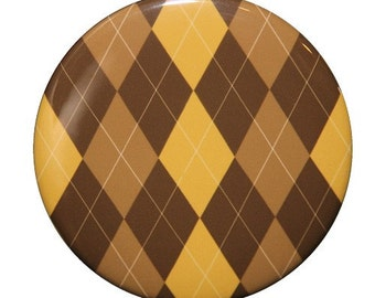 Brown Argyle Pocket Mirror 2 1/4 inch