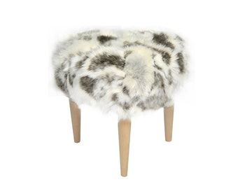 ODO Footstool by MonkeyMachineDesign, stool, fur stool, goat fur, elegant and contemporary stool