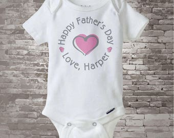 Happy Father's Day Onesie,  New Dad Gift, Personalized Fathers Day Onesie or Tee shirt with Pink Heart 03112014b
