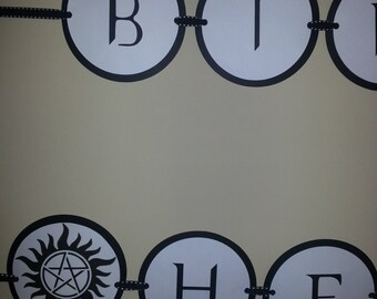 Supernatural Happy Birthday Banner Personalized With Your Choice of Name