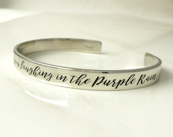 Purple Rain Bracelet . Prince Jewelry . Engraved Prince Lyric Cuff Bracelet
