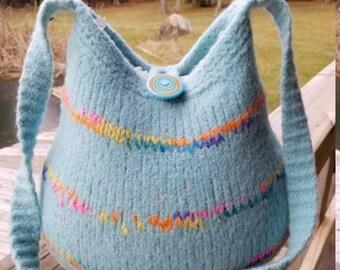 13-1191 Handknitted felted wool purse,tote,handbag fs