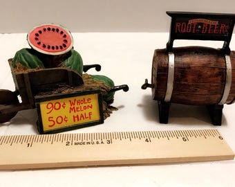 Dollhouse furniture miniature vintage resin watermelon cart and root beer barrel