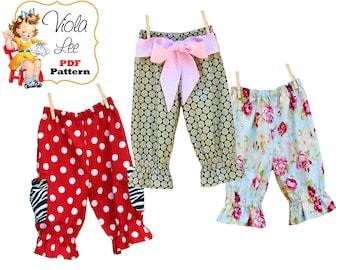 Girls Sewing Pattern, PDF, Girls Ruffle Pants Pattern, Capris Pattern, Toddler Sewing Pattern, Toddler Pants Pattern, INSTANT DOWNLOAD Patty