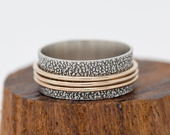 Sterling Silver&Gold Filled Spinner Ring Rustic Spinner Ring Spinner Ring Anxiety Ring Fidget Ring Meditation Ring Worry Ring Gift fot Her