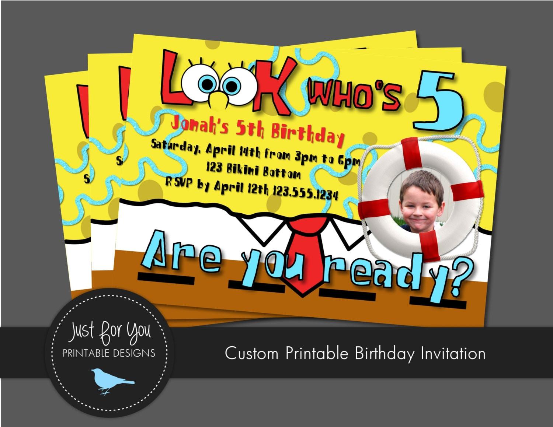 Spongebob squarepants inspired birthday invitation you print zoom solutioingenieria Gallery