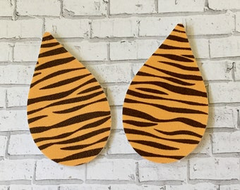 Tiger Striped Faux Leather Pleather Shapes Cut Outs Earring Supplies Do It Yourself Craft Jewelry Supplies