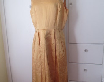 SALE - Handmade Gold Cocktail Dress, Pleated Skirt, Mustard, Satin, Structured, Handmade Vintage, Knee Length, Formal, White Tie, Size Large