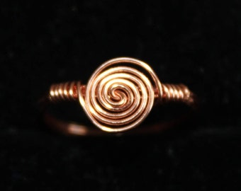 Copper Swirl Ring Size 4