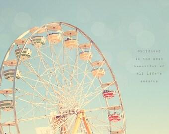 Ferris Wheel Art, Ferris Wheel Decor, Ferris Wheel Print, Carnival Photography, Carnival Rides, Shabby Chic, Pastel Photograph, Pastel Print