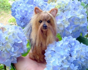 Needle Felted Yorkie / Your Dog in Miniature by Fiber Artist GERRY / Poseable / with Crystal ear stud / Gift Idea
