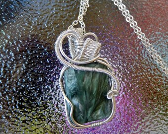 Seraphinite Angel stone sterling weave wire wrapped pendant handcrafted gift