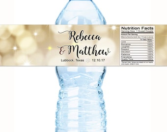 Wedding Water Bottle Labels, Personalized Water Bottle Labels, Waterproof Label, Christmas Labels, Holiday Labels, Winter Gold Labels