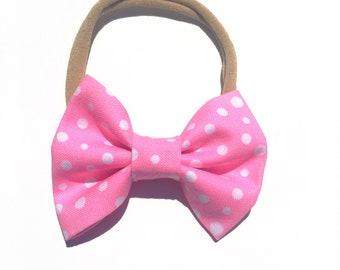 Pink & White Polka Dot Bow Headband